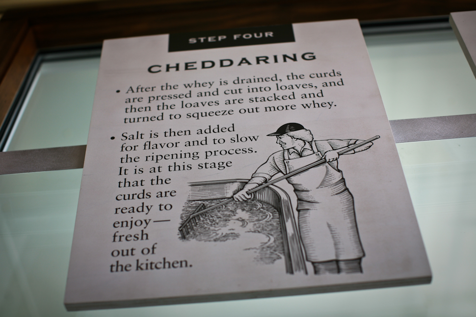 Then we saw this sign in the shop that stated that salt is added to the curding process...